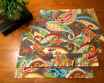 Spring Placemats ~~~ Paisley  Placemats ~ Gray,Red, Yellow,Orange and Turquoise  ~ Set of 4 ~