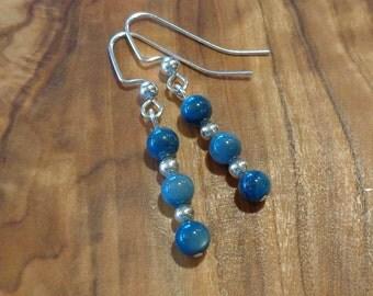 Denim-Blue Natural Stone and Metal Bead Dangle Earrings