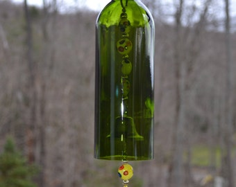 Wine Bottle Wind Chime, Recycled Wine Bottle Chime
