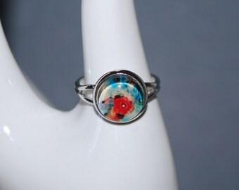 Adjustable ring - pretty red poppy