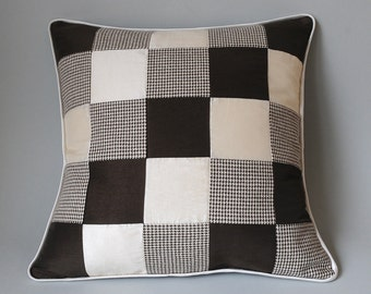 Cushion cover 40 x 40 cm patchwork HOUNDSTOOTH brown beige jewellery pillow wool