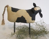 Hand Painted Primitive Cow