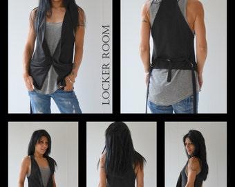 Black Vest /Woman black vest /Black Top/tunic top/extravagant vest /Custom made clothing /Open Back Top Vest / asymmetric top