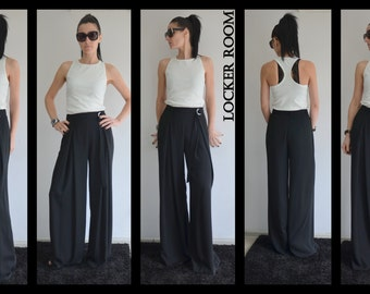 Black long pants / Loose Black Pants /Extravagant black pants/ black high waist trousers