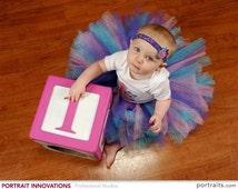 infant/toddler teal, pink, purple tutu, elastic waist