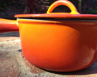 Descoware 7-A 14 Orange Flame Small Covered Saucepan Enameled Cast Iron