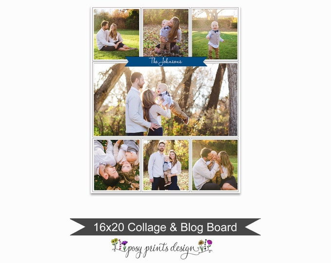 Blog Board & Collage Template 16x20 - Social Media Collage Template - Digital Storyboard - Instant Download - BCB19