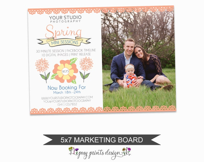 Spring Mini Session Marketing Board - Template for Photographers - Digital Photoshop Template - 5x7 Photography Design - SMS02