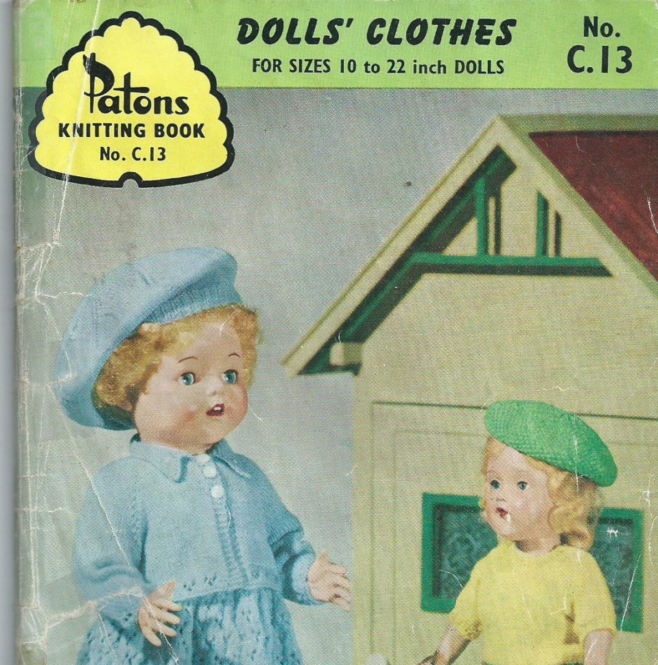 Dolls Clothes Patons Knitting Book No.C.13 1960s
