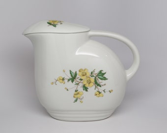 1940's Knowles Lidded Ceramic Pitcher 2 pc, Art Deco shape Off white with a Spray of Yellow Buttercups