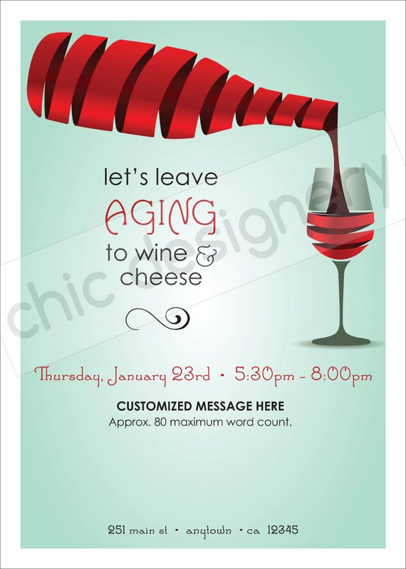 leave aging to wine & cheese customizable invitation, Party invitations