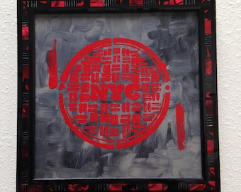 New York City Pop Art Painting - Original Oil on Wood - Framed - NYC Manhole Cover, Red, Gray - Unique Industrial Pop Art, NY Art, Picture