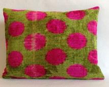 """14""""x18"""" Original hand loomed Ikat velvet  pillows case;silk velvet pillow;designer pillow;elegant pillow IVP000095-"""
