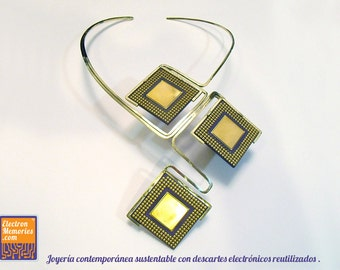 Upcycled antique microprocessors into a original necklace containing Gold-Palladium-Bronze