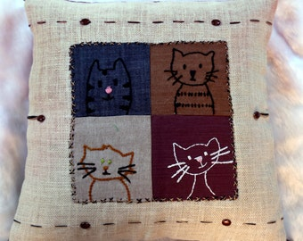 Cute Kitten Hand Embroidered12 X 12 Jute Cushion Cover