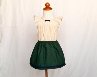 100% Cotton Ruffled Blouse and Green Skirt Outfit