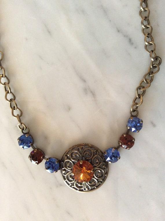 Topaz Crystal Medallion Necklace,  Filigree Necklace, Filigree Medallion Necklace, Topaz Crystal Necklace, Sapphire Crystal Necklace