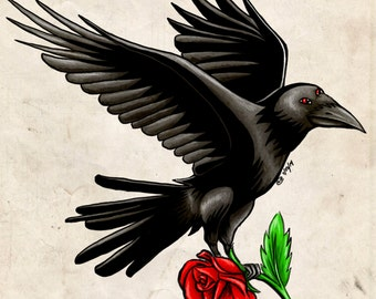 Raven with Rose 2