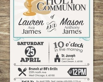 First Holy Communion Invitation for Boy or Girl, 1st Communion, Holy Communion, Modern Typography design