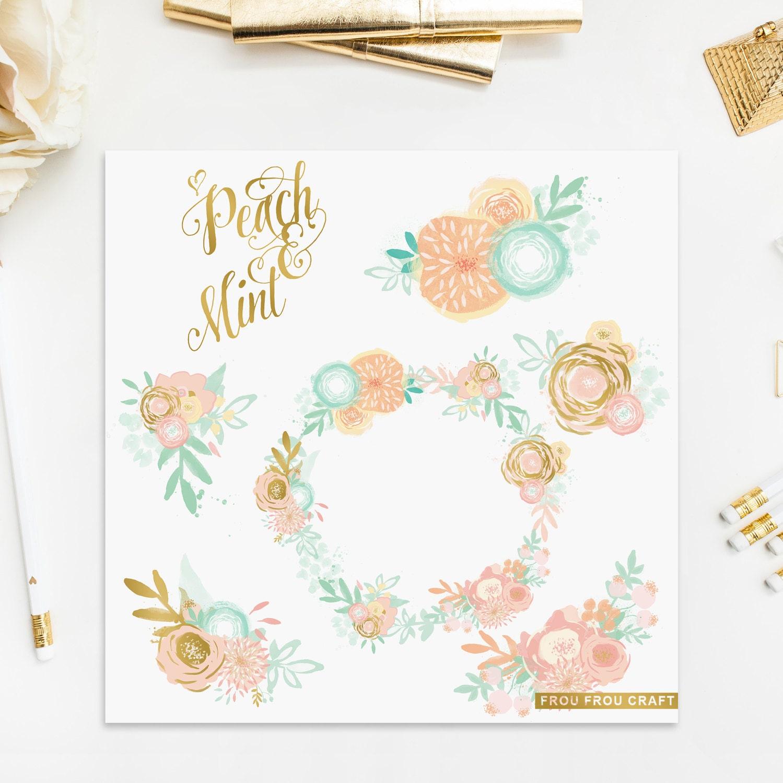 Peach Mint Flowers ClipArt Intant Download Digital Blush Pink