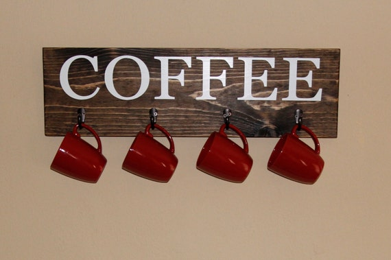 Coffee Cup Rack Coffee Sign With Hooks Kitchen Decor Cup Hanger