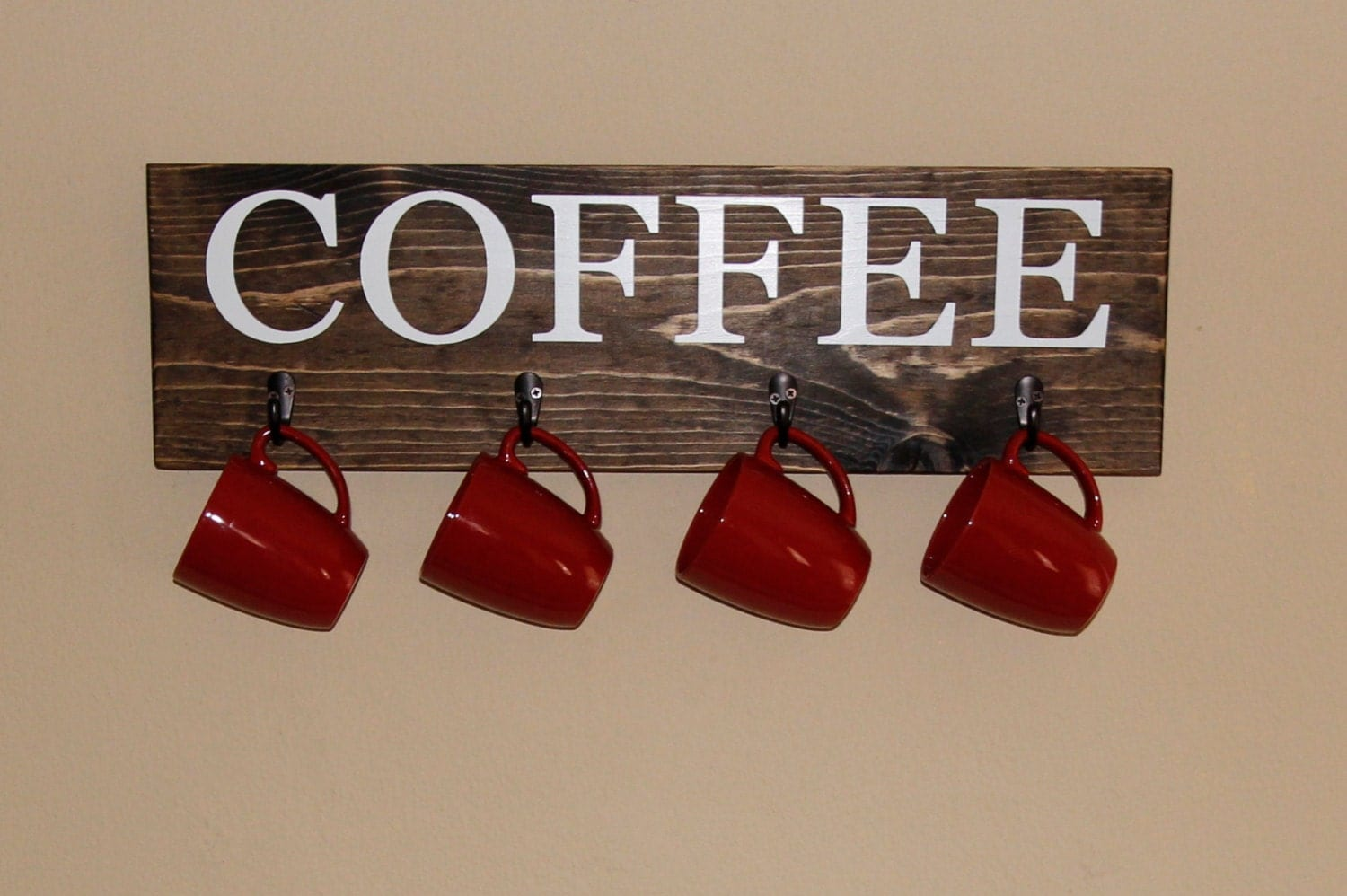 Coffee Cup Rack Coffee Sign With Hooks Kitchen Decor Cup within Coffee Signs Kitchen Decor