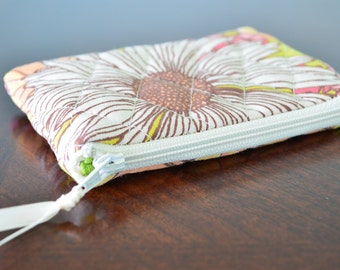 Quilted Floral Change Purse, Handmade, High Quality, Card Holder, Zipper Pouch, Wallet, Women