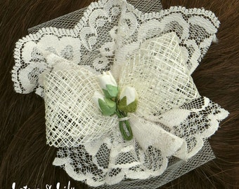 Hair Accessory, Cream Ivory, with Small Rosebud Feature.