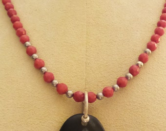 Oregon River Rock w/Hand Carved Musical Note w/Red Beads