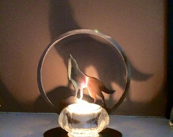 Howling Wolf Votive Candle signed and dated