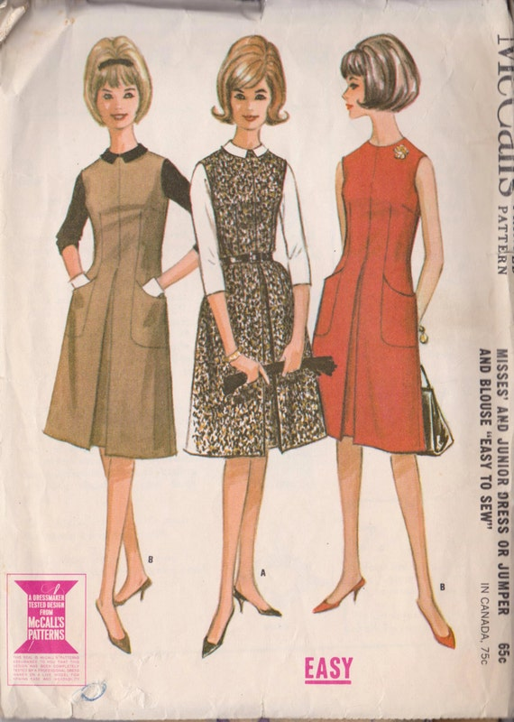 McCall\'s 6930 Vintage 1963 Dress/Blouse/Jumper Sewing