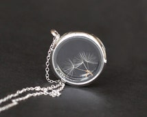 real Dandelion seed necklace Make A Wish Window Locket Necklace, transparent glass necklace, bridesmaid gifts, real plant good luck