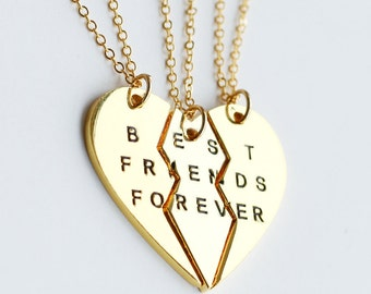 BEST FRIENDS FOREVER NECKLACES image galleryThree Best Friends Forever Necklace