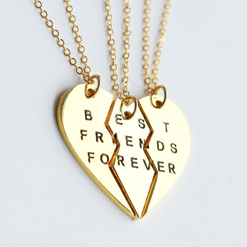 best friend jewelry for 3 gold best friends necklace best friend forever by yesornodesign 9999