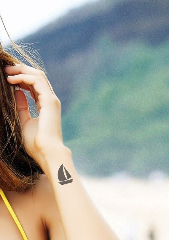 Favoloso Sailboat Temporary Tattoo SomaArtTattoo Temporary Tattoo RD96
