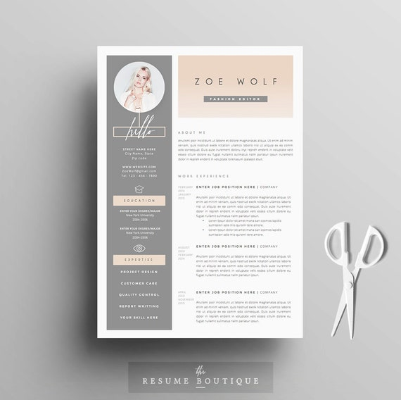 Resume Template and Cover Letter + References Template for Word | DIY  Printable 5 Pages | The