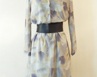 Grey Yellow graphic print dress