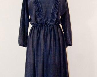 70s glittering midnight blue dress