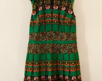60s green & black dress