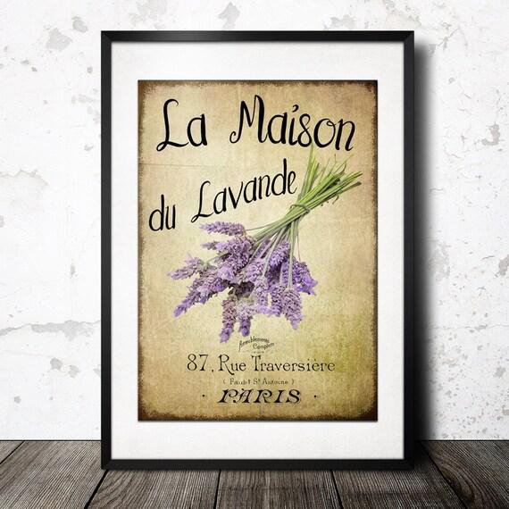 Vintage french lavender graphics wall art maison du for Maison du decor