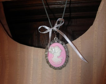 Pink Cameo Colie, Pink Cameo Necklace, Long Cameo Necklace, White Cameo Necklace, Pink and White Necklace