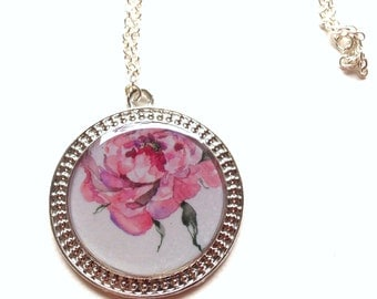 Necklace Peony Pendant, resin, wonderful, unique, silver, illustration