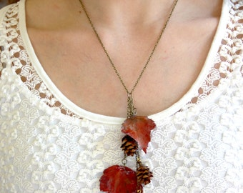 Autumn Maple Leaves and Pinecones Necklace made from real preserved leaves and pinecones