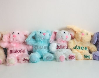 THREE Personalized Stuffed Easter Bunnies - Easter Basket, Plush Newborn Gift Baby Shower Plush Rabbit Bear Name Year