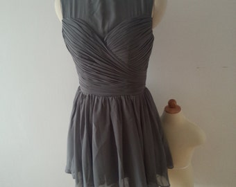 Short  Gray Chiffon Bridesmaid Dress