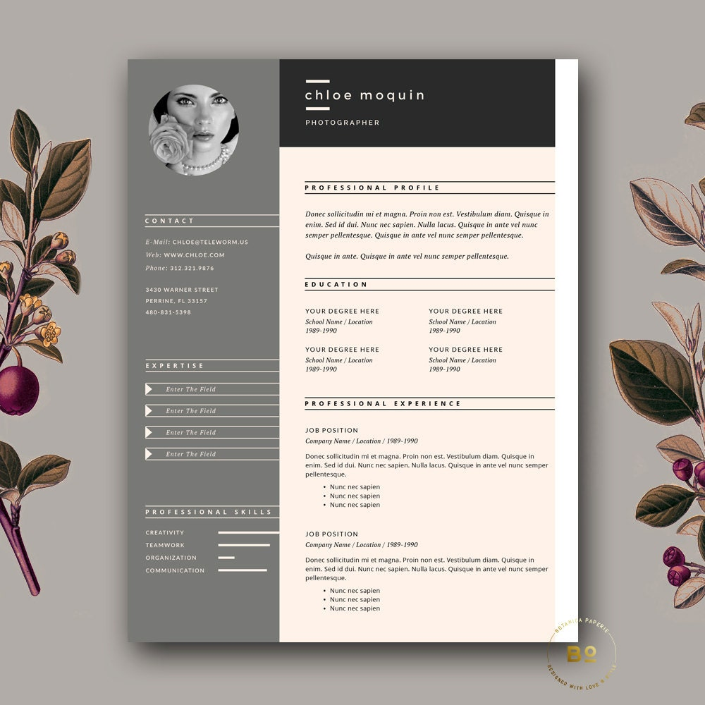 fashion resume  etsy also resume template and cover letter for word  pages   page resume template fashion