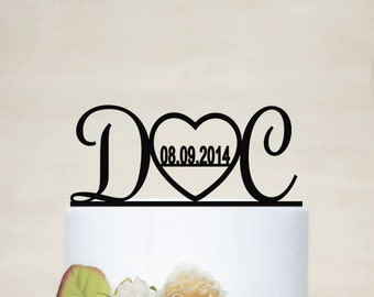 Initial Cake Topper,Wedding Cake Topper, Personalized Wedding Cake Topper, Acrylic Decoration-I020