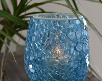 Ocean Blue Mosaic Candle Holder/Vase - Mosaic Vase - Blue Mosaic Candle Holder