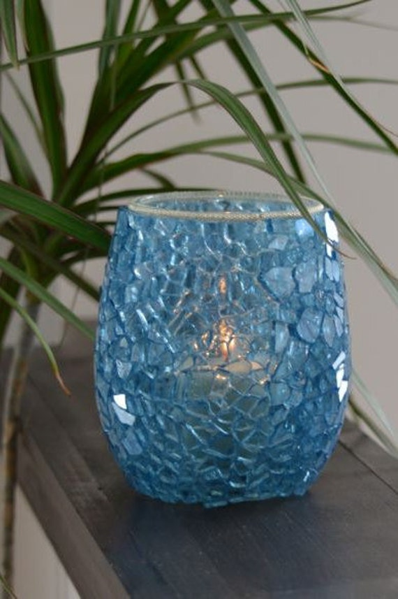 Ocean Blue Mosaic Candle Holder Vase Mosaic Vase Blue