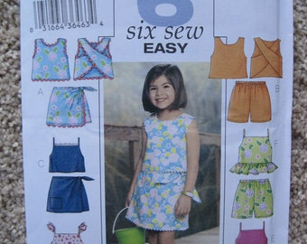 UNCUT Girls Top, Skort and Shorts - Size 6, 7, 8 - Butterick Pattern 3832